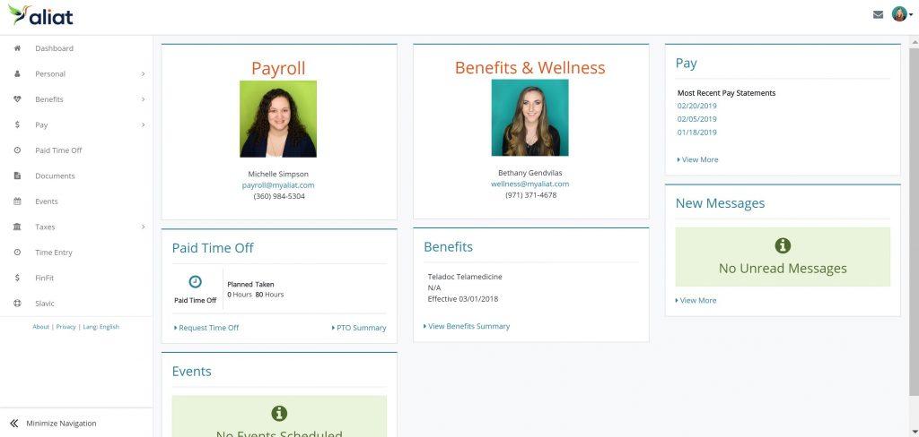 Aliat's online portal - dashboard