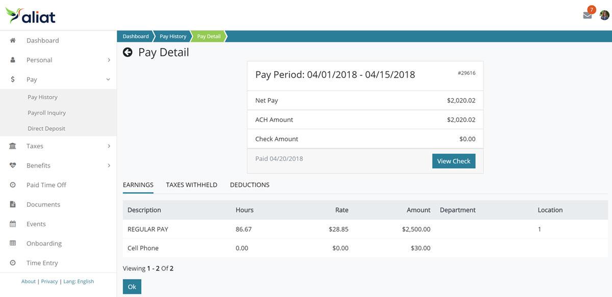 Aliat's online portal - pay details